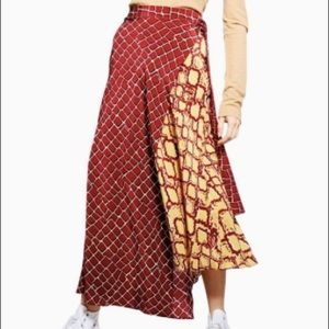 Top shop mixed snake print silk skirt